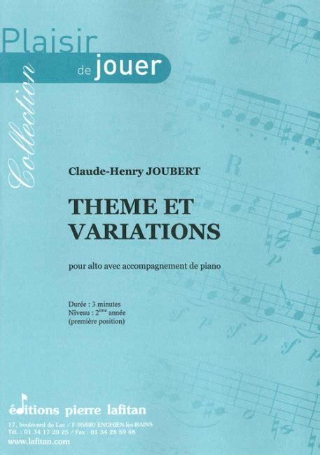 themes et variations london th 232 me et variations partition de c h joubert pour