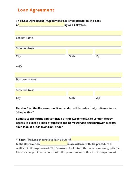 top 5 free loan agreement templates word templates