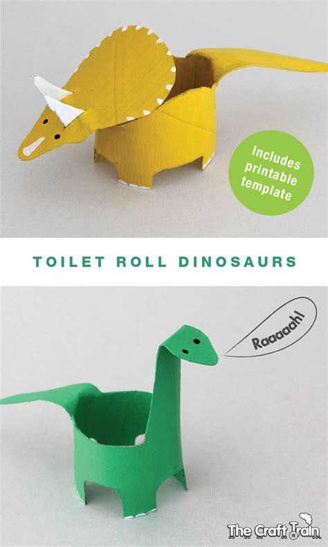 Free Toilet Paper Roll Crafts - create dinosaurs from toilet rolls free printable shape