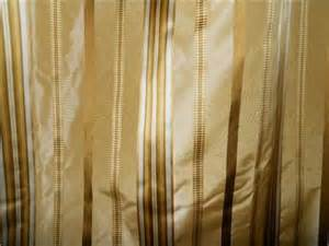 Gold And White Striped Curtains Taffeta Silk Drapes Designer Striped Curtains Gold Tones Custom Drapery Pair Ebay