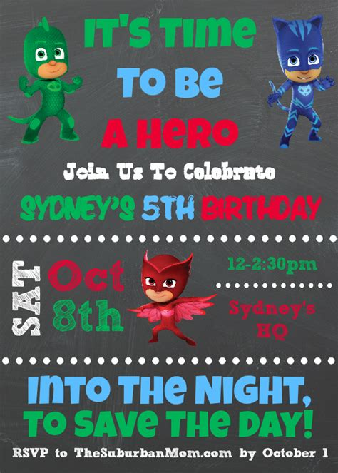 pj invitation pj masks birthday ideas and free printables the
