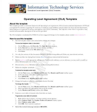 operating level agreement template operating agreement template 8 free word pdf documents