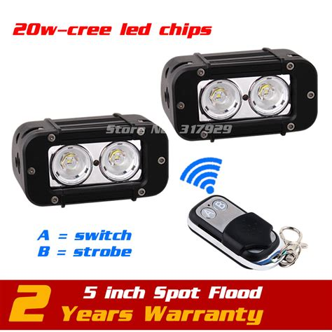 led strobe lights for motorcycles 5inch 20w led work light bar wireless remote with strobe