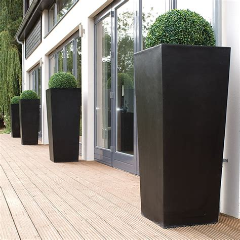 cadix black tapered tall planters modern planters