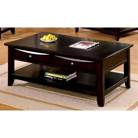 Coffee And L Tables Furniture Of America Baldwin Espresso Coffee Table Cm4265dk C L The Home Depot