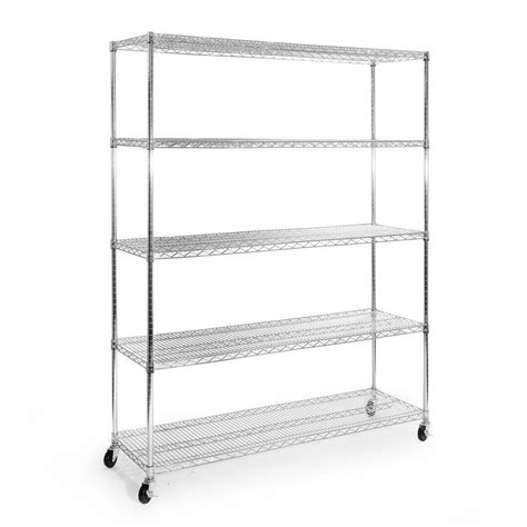 metal shelving units seville classics 72 in h x 60 in w x 18 in d 5 shelf steel wire wheeled shelving unit in
