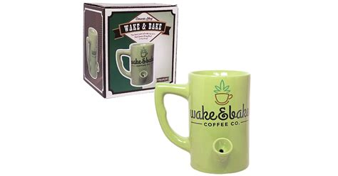 Wake ?n? Bake Mug with Built In Pipe   drunkMall