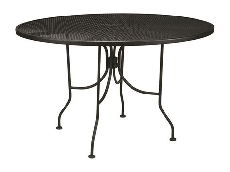 Iron Patio Tables Meadowcraft Wrought Iron 48 Regular Mesh Dining Table Ready To Assemble 6648000 01