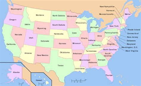 usa map list map of the united states