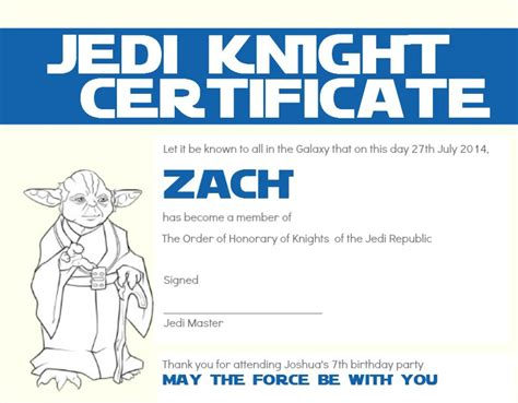 wars jedi certificate template free josh s 7th birthday wars themed cook you some
