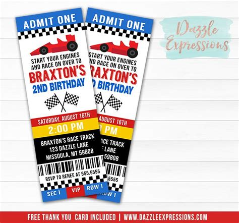 printable nascar birthday invitations printable race car ticket birthday invitation nascar