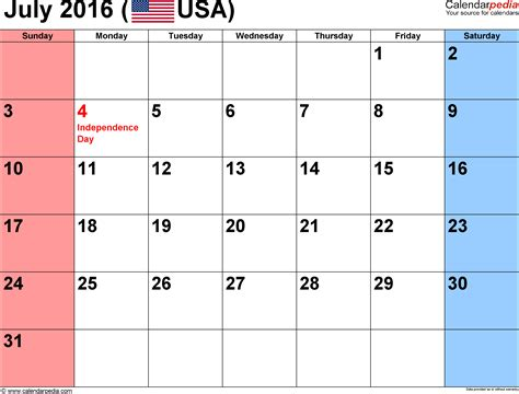 printable planner july 2016 july 2016 calendars for word excel pdf