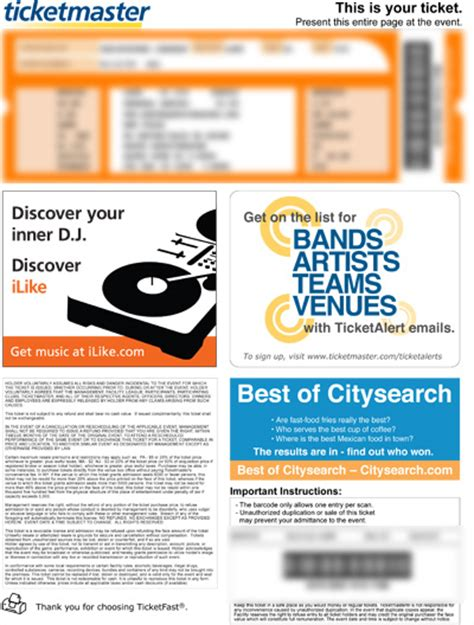 printable tickets from ticketmaster ticketmaster e tickets images