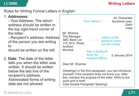 Formal Letter Format According To Cbse Learnhive Cbse Grade 8 Letter Writing Lessons Exercises And Practice Tests