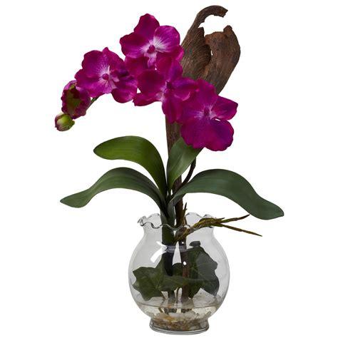 Vanda Vase by Mini Vanda Orchid With Fluted Vase Silk 1276