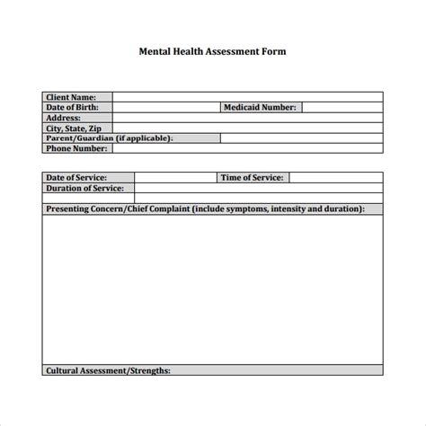 6 Health Assessment Templates Sle Templates Behavioral Health Assessment Template