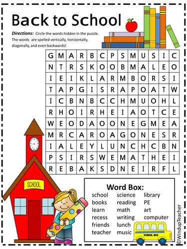 Find By School Back To School Word Search By Windupteacher Teaching Resources Tes