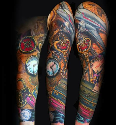 colorful sleeve tattoos for men colorful mens suitcase airplane travel sleeve tattoos