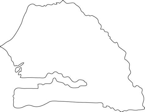 Country Outline by Senegal Outline Map