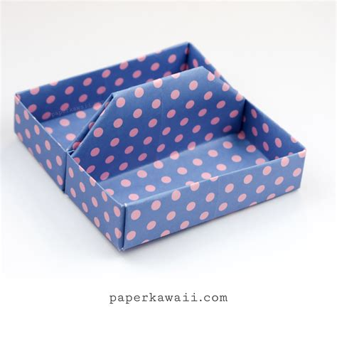 Origami Paper Tray - square origami tray table caddy tutorial paper kawaii