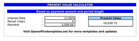 mortgage payment calculator open office templates