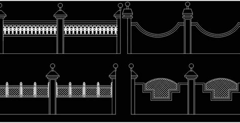 boundary  compound wall elevation dwg  cad block