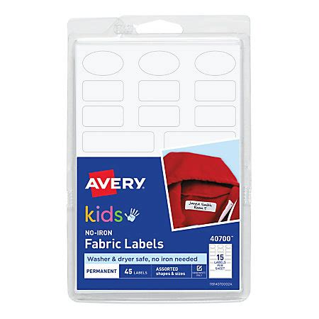 avery printable iron on labels avery no iron clothing labels white pack of 45 by office