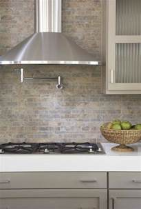 Gray Backsplash Kitchen Kitchens Pot Filler Tumbled Linear Stone Tiles