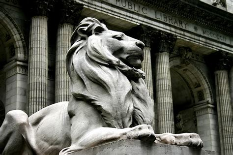 Standing Guard At The New York Library by 100 Years Of Patience And Fortitude In Nyc New York
