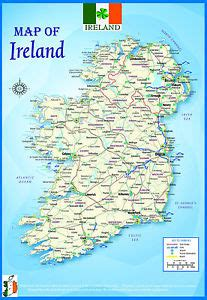 printable road maps ireland laminated ireland geographical political atlas map poster