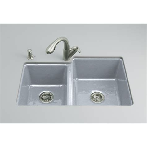 Cast Iron Undermount Kitchen Sink Shop Kohler Clarity Basin Undermount Enameled Cast Iron Kitchen Sink At Lowes