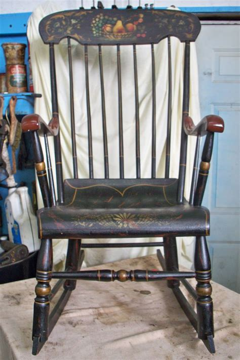 antique black wooden rocking chair vintage hitchcock style black paint decorated rocker