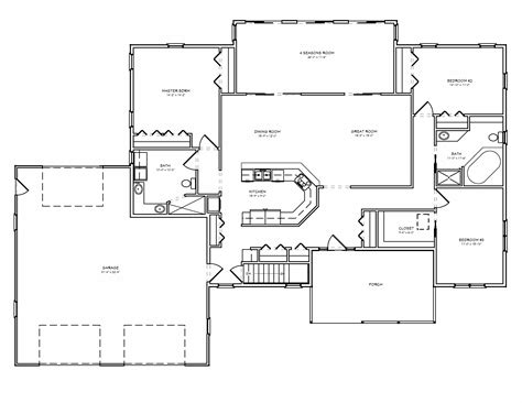 3 room floor plan 3 bedroom house plans with great room 3 bedroom 1 floor