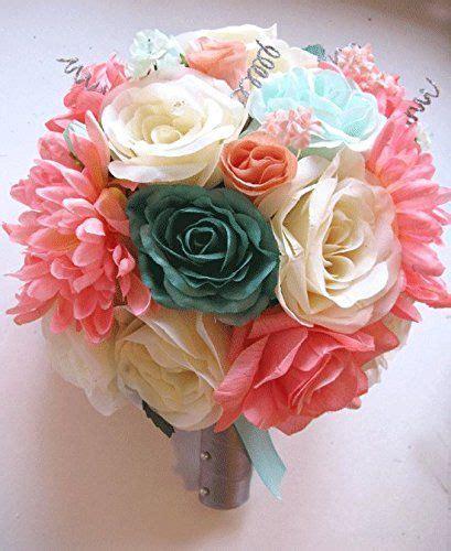 17 Pc Wedding Bouquet Bridal Silk Flower Coral Teal Green