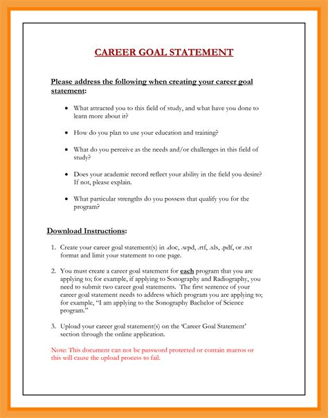 9 career goals exles resume pdf