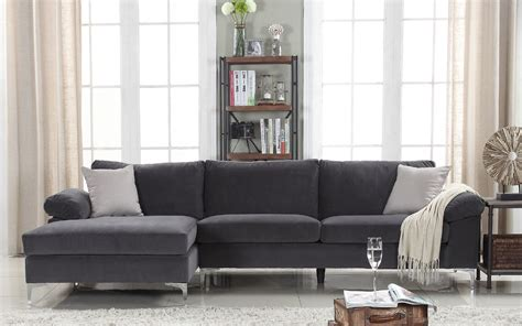 Large Modern Sectional Sofas Velvet Sectional Sofa Amanda Modern Velvet Large Sectional Sofa Sofamania