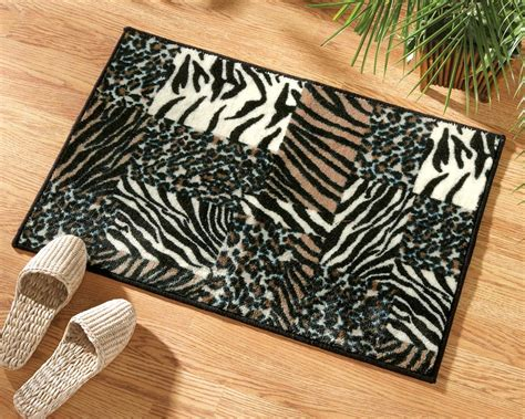 animal print rug collections etc animal print patchwork accent rug ebay
