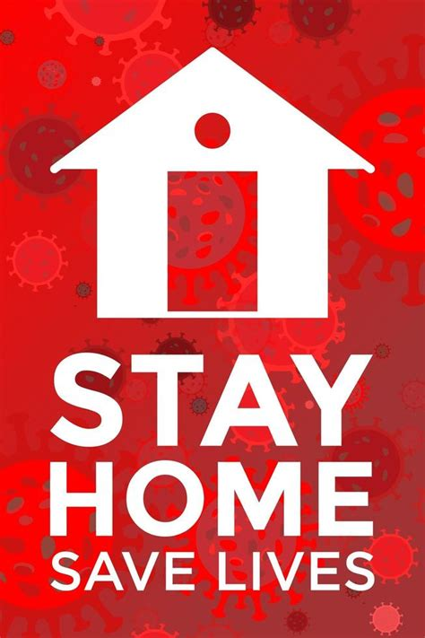 stay home save lives red poster   vectors