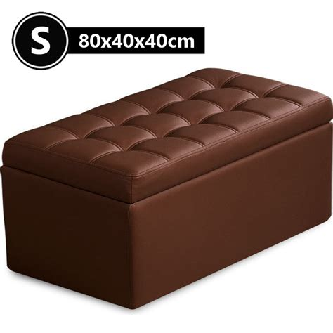 small tufted storage ottoman small pu leather tufted storage ottoman brown 80cm buy