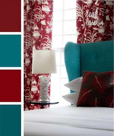 red and teal accent bedroom color scheme with white for