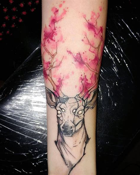 watercolor tattoo graz stag with gorgeous watercolor horns animal