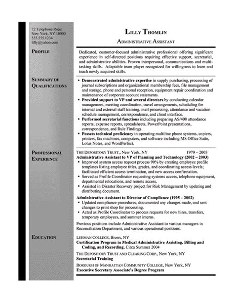 secretarial resume template resume exle sle