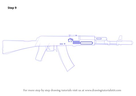 how to drqw learn how to draw ak 47 rifle rifles step by step