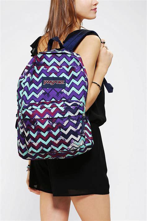 Jansport Zigzag Pattern 2 lyst outfitters jansport zigzag splatter backpack in purple