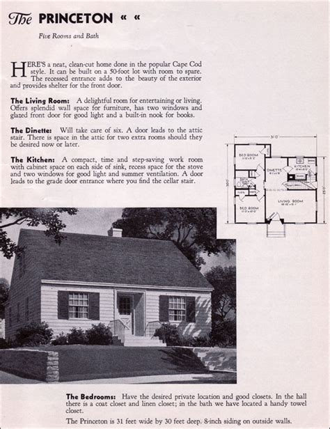1940 Homes Interior by 1935 Gordon Van Tine Kit Homes The Princeton Cape Cod