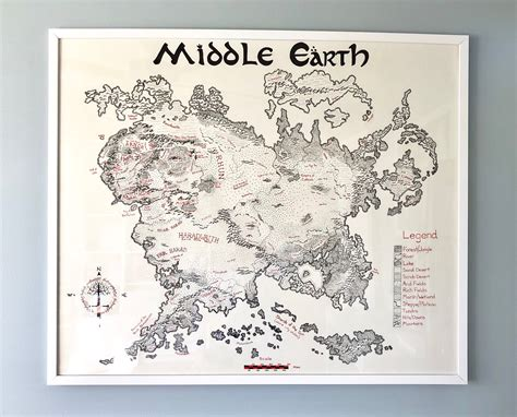 entire middle earth map framed 30 quot x36 quot map of middle earth only