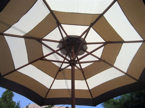 9 Ft Market Patio Umbrella Brown And Beige Stripe New Ebay Striped Patio Umbrella 9 Ft