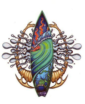 surfboard tattoo designs green waves and surfboard on