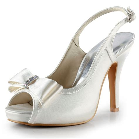 Heels Ip 11 ep2042 ip silver peep toe bow slingbacks high heel sandals