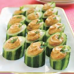 easy appetizers finger foods red pepper hummus in cucumber cups easy appetizer recipes